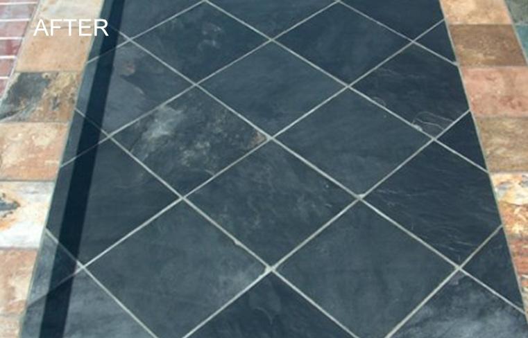Slate Floor Cleaned and Repaired in Orange County CA