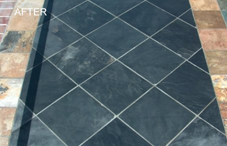 Slate Floor Cleaned and Repaired in Orange County CA
